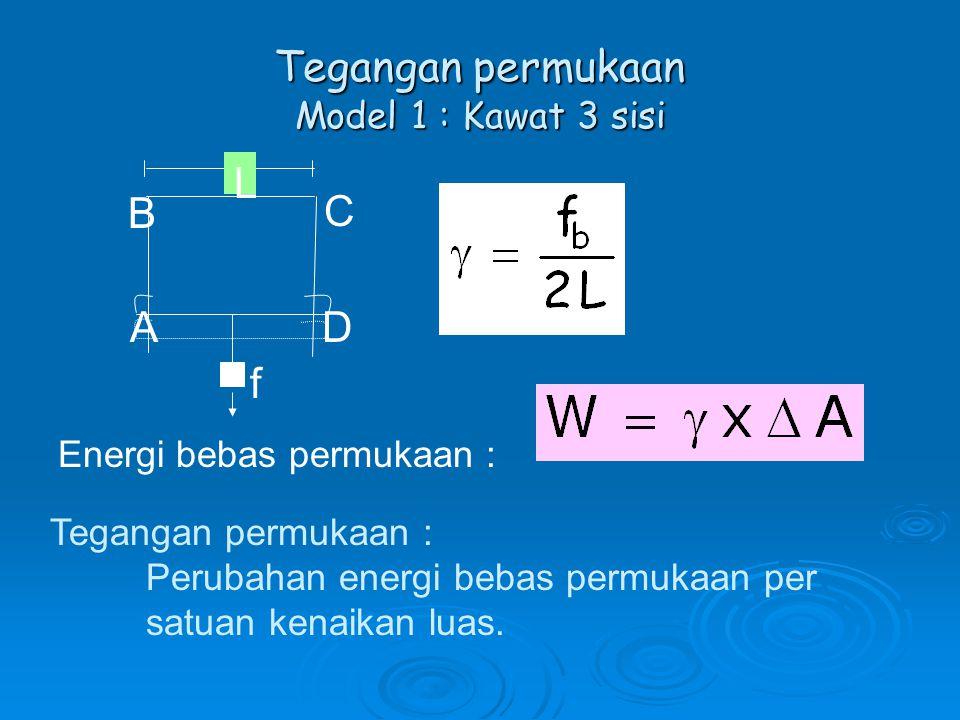 Tegangan permukaan Model 1 : Kawat 3 sisi