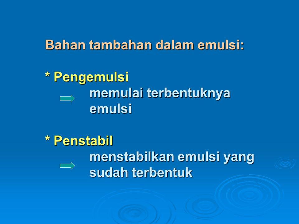 Bahan tambahan dalam emulsi:. Pengemulsi memulai terbentuknya. emulsi