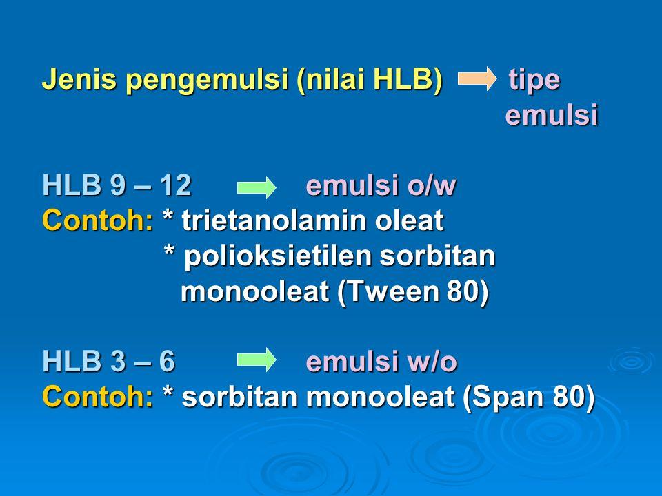 Jenis pengemulsi (nilai HLB) tipe emulsi HLB 9 – 12 emulsi o/w Contoh: * trietanolamin oleat * polioksietilen sorbitan monooleat (Tween 80) HLB 3 – 6 emulsi w/o Contoh: * sorbitan monooleat (Span 80)