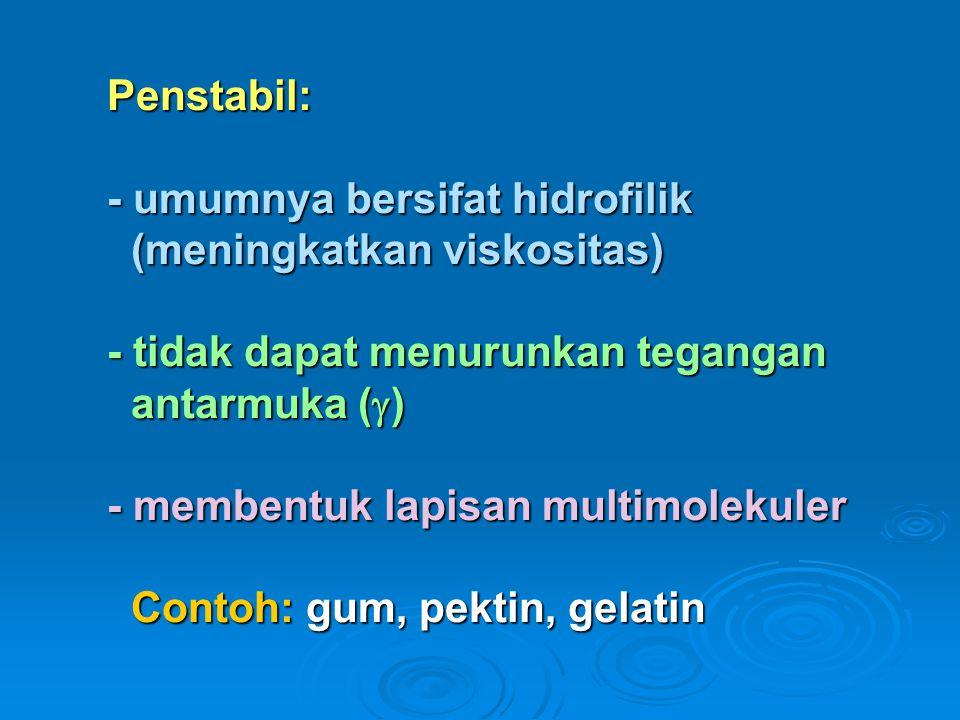 Penstabil: - umumnya bersifat hidrofilik (meningkatkan viskositas) - tidak dapat menurunkan tegangan antarmuka () - membentuk lapisan multimolekuler Contoh: gum, pektin, gelatin