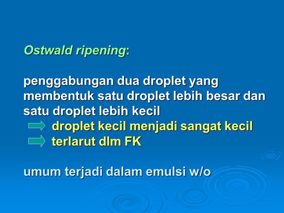 Ostwald ripening: penggabungan dua droplet yang membentuk satu droplet lebih besar dan satu droplet lebih kecil droplet kecil menjadi sangat kecil terlarut dlm FK umum terjadi dalam emulsi w/o
