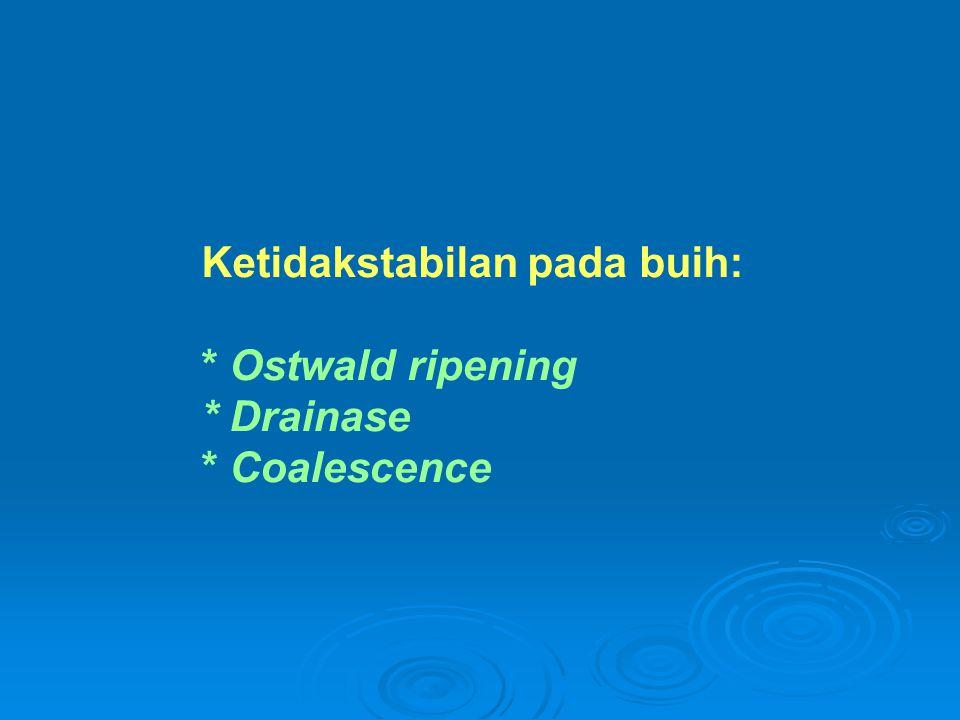 Ketidakstabilan pada buih: * Ostwald ripening * Drainase * Coalescence