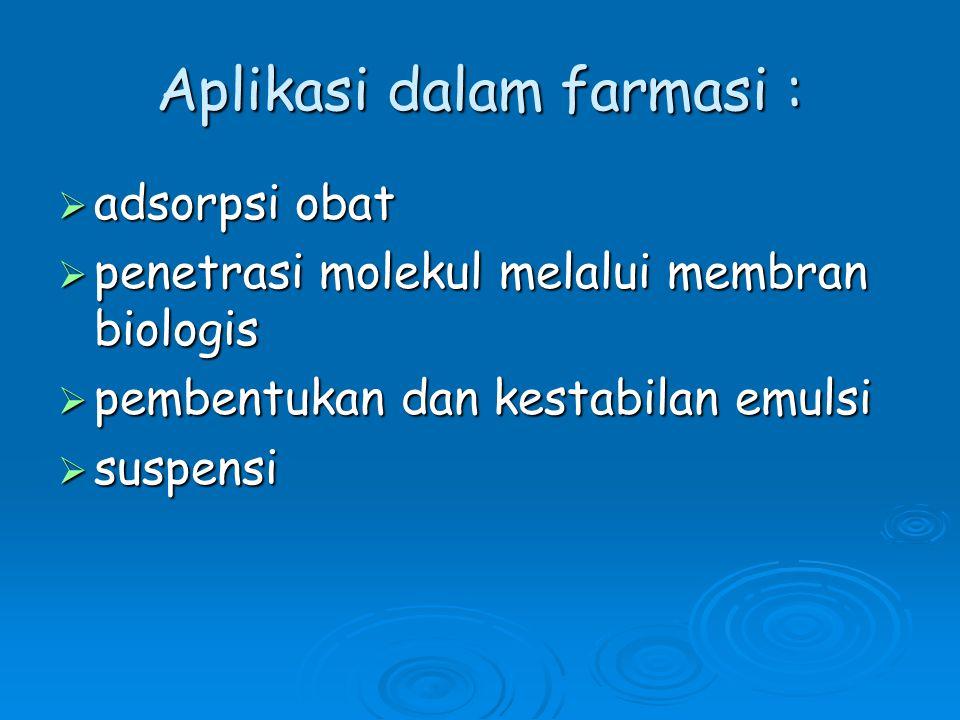 Aplikasi dalam farmasi :
