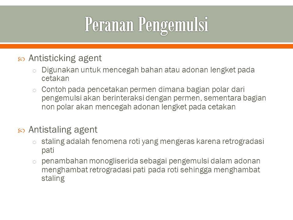 Peranan Pengemulsi Antisticking agent Antistaling agent