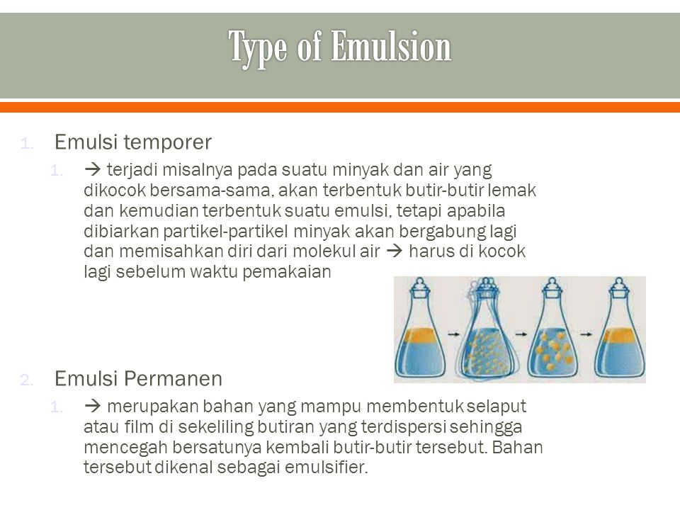 Type of Emulsion Emulsi temporer Emulsi Permanen