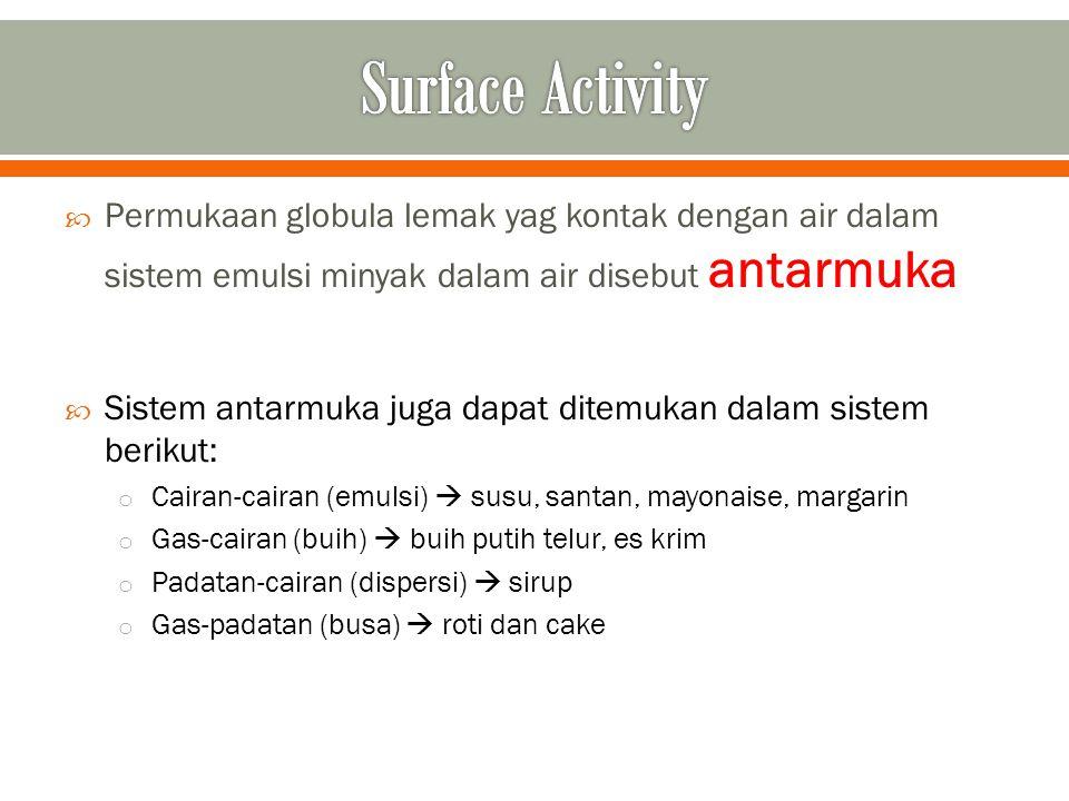 Surface Activity Permukaan globula lemak yag kontak dengan air dalam sistem emulsi minyak dalam air disebut antarmuka.