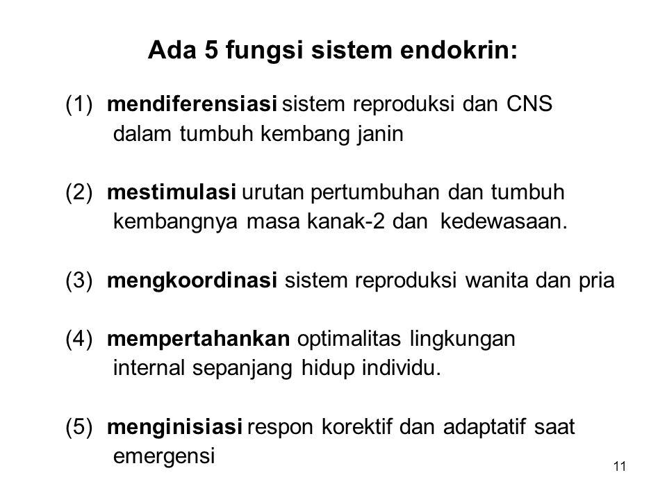 Ada 5 fungsi sistem endokrin: