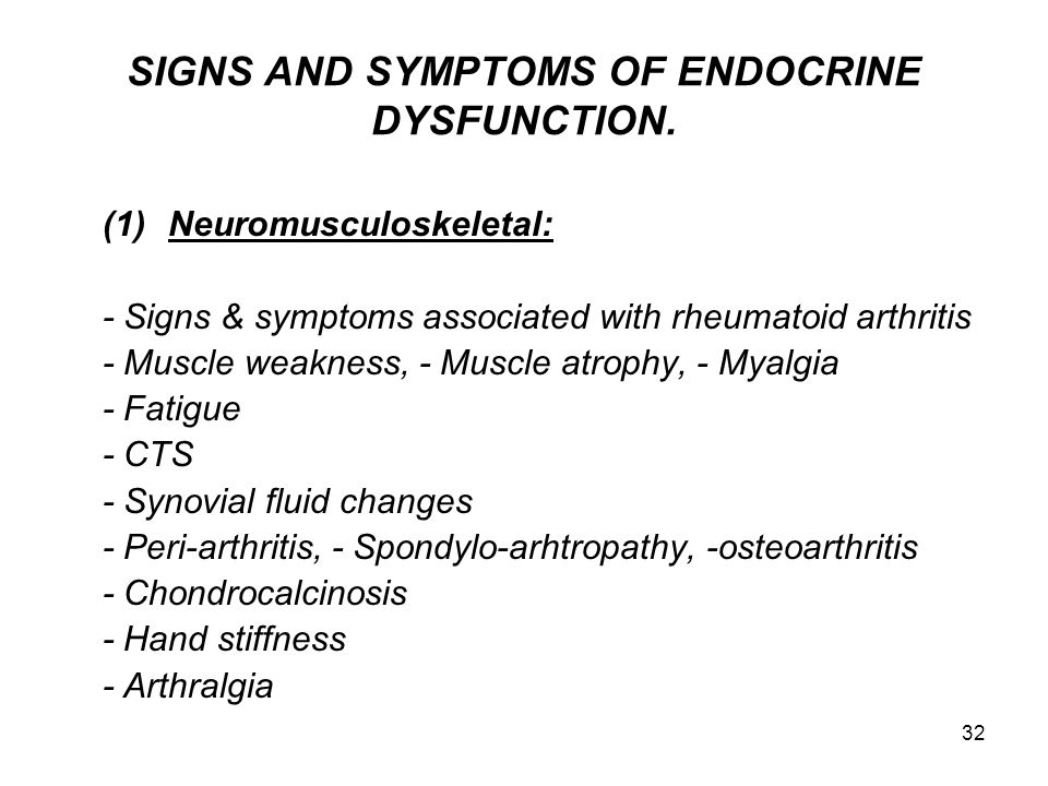 SIGNS AND SYMPTOMS OF ENDOCRINE DYSFUNCTION.