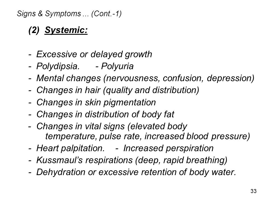 Signs & Symptoms ... (Cont.-1)