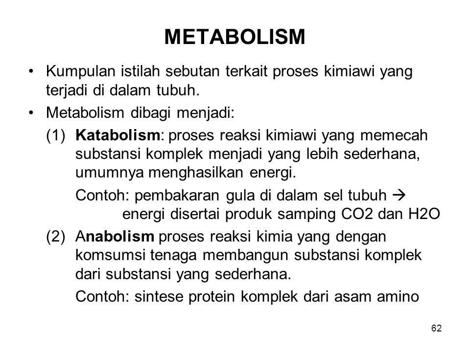 METABOLISM Kumpulan istilah sebutan terkait proses kimiawi yang terjadi di dalam tubuh. Metabolism dibagi menjadi: