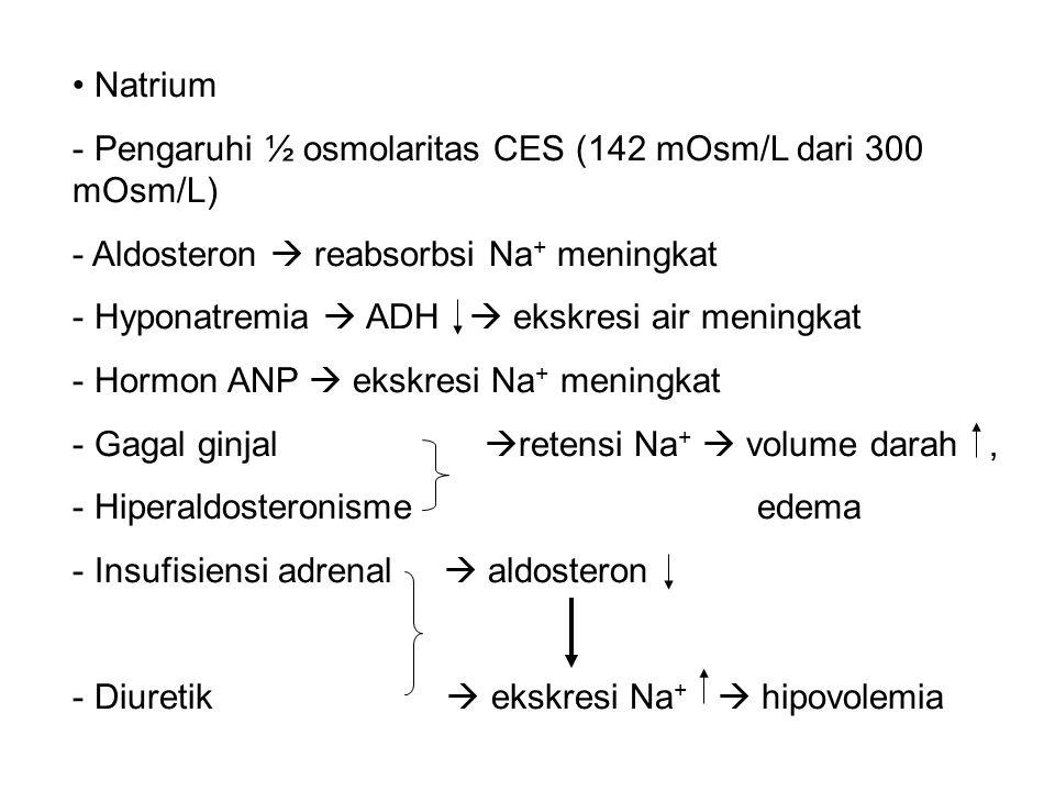 Natrium Pengaruhi ½ osmolaritas CES (142 mOsm/L dari 300 mOsm/L) Aldosteron  reabsorbsi Na+ meningkat.