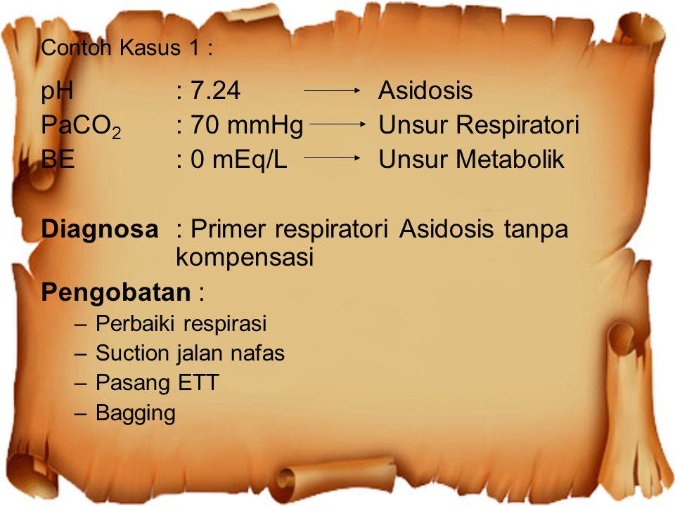 PaCO2 : 70 mmHg Unsur Respiratori BE : 0 mEq/L Unsur Metabolik