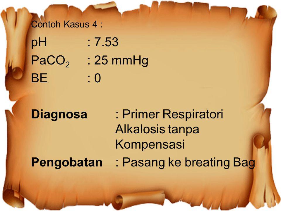 Diagnosa : Primer Respiratori Alkalosis tanpa Kompensasi