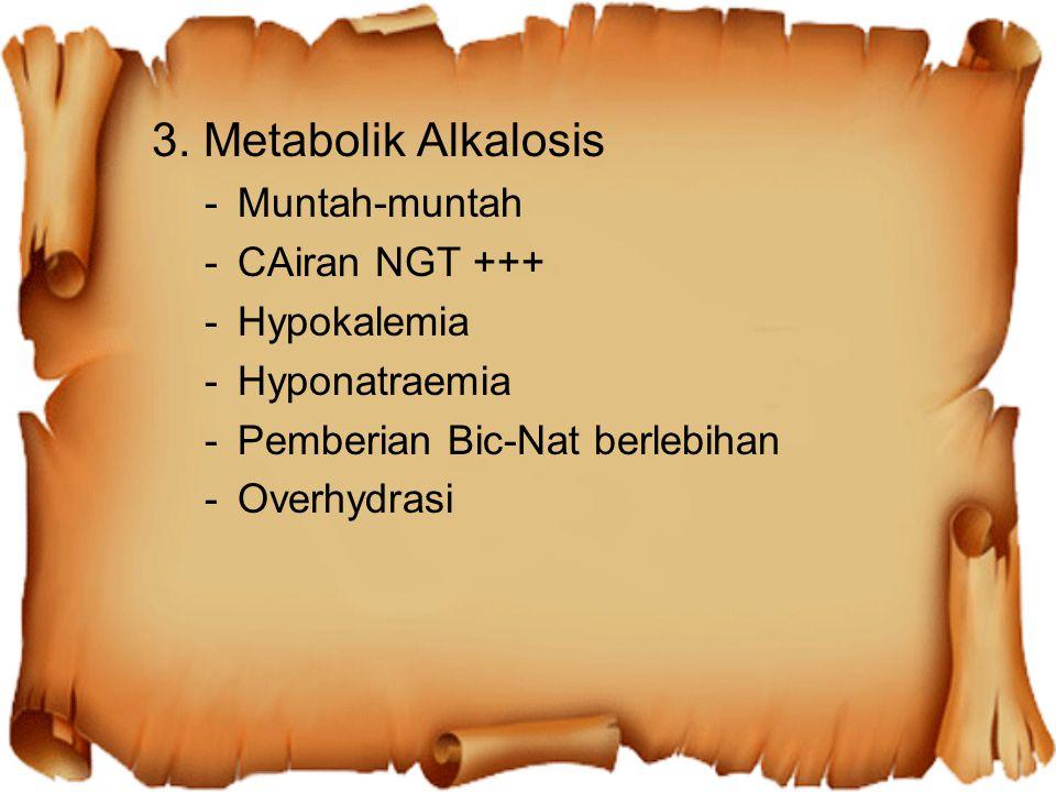 3. Metabolik Alkalosis Muntah-muntah CAiran NGT +++ Hypokalemia