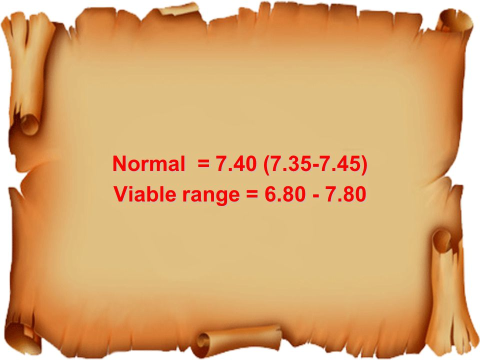 Normal = 7.40 (7.35-7.45) Viable range = 6.80 - 7.80