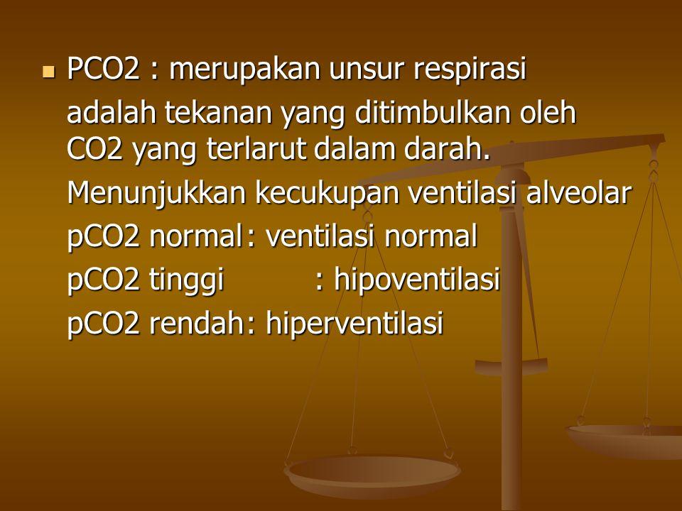 PCO2 : merupakan unsur respirasi