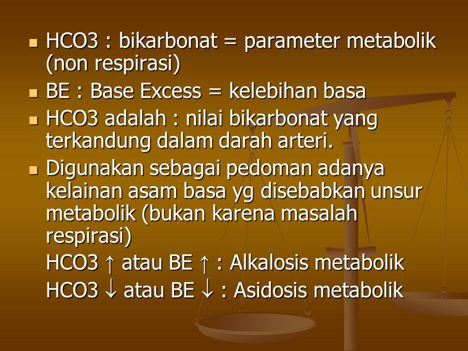 HCO3 : bikarbonat = parameter metabolik (non respirasi)