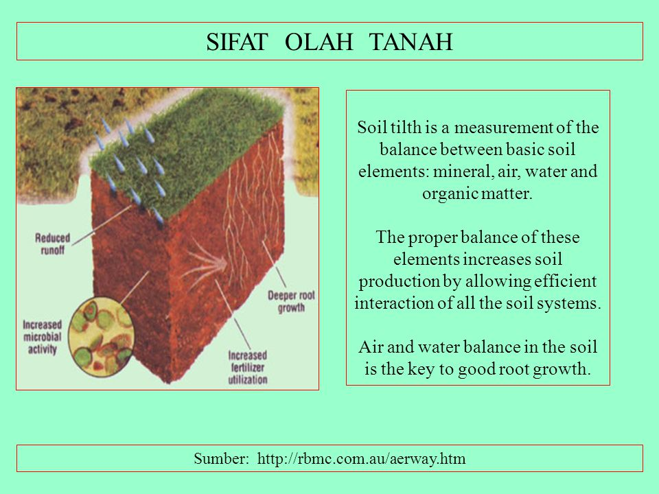 SIFAT OLAH TANAH Soil tilth is a measurement of the balance between basic soil elements: mineral, air, water and organic matter.
