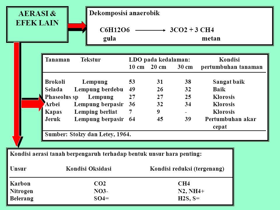 AERASI & EFEK LAIN Dekomposisi anaerobik C6H12O6 3CO2 + 3 CH4