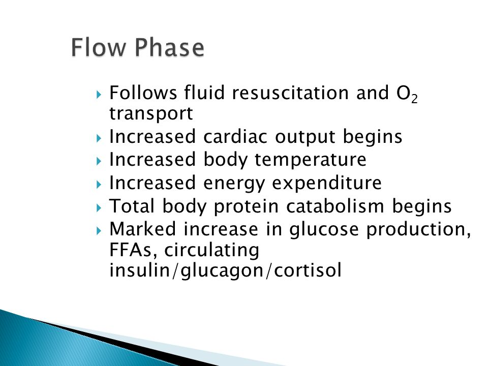 Flow Phase Follows fluid resuscitation and O2 transport