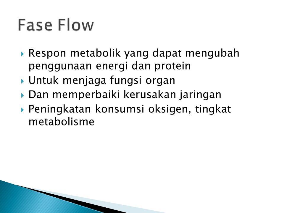 Fase Flow Respon metabolik yang dapat mengubah penggunaan energi dan protein. Untuk menjaga fungsi organ.