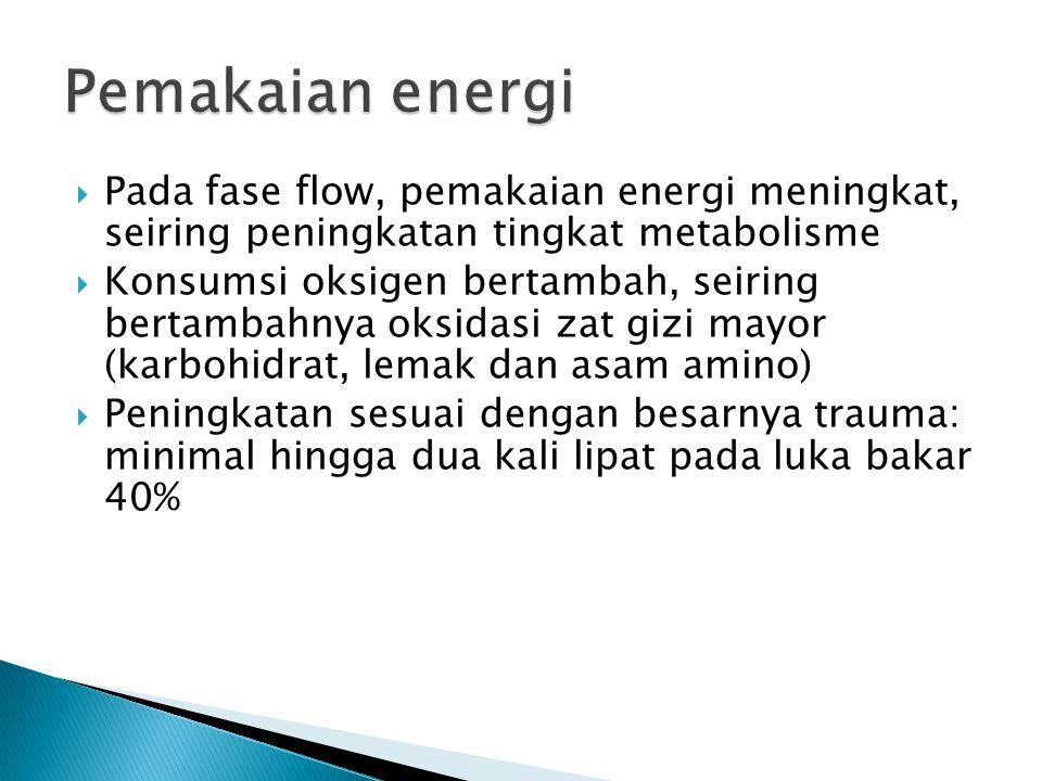 Pemakaian energi Pada fase flow, pemakaian energi meningkat, seiring peningkatan tingkat metabolisme.