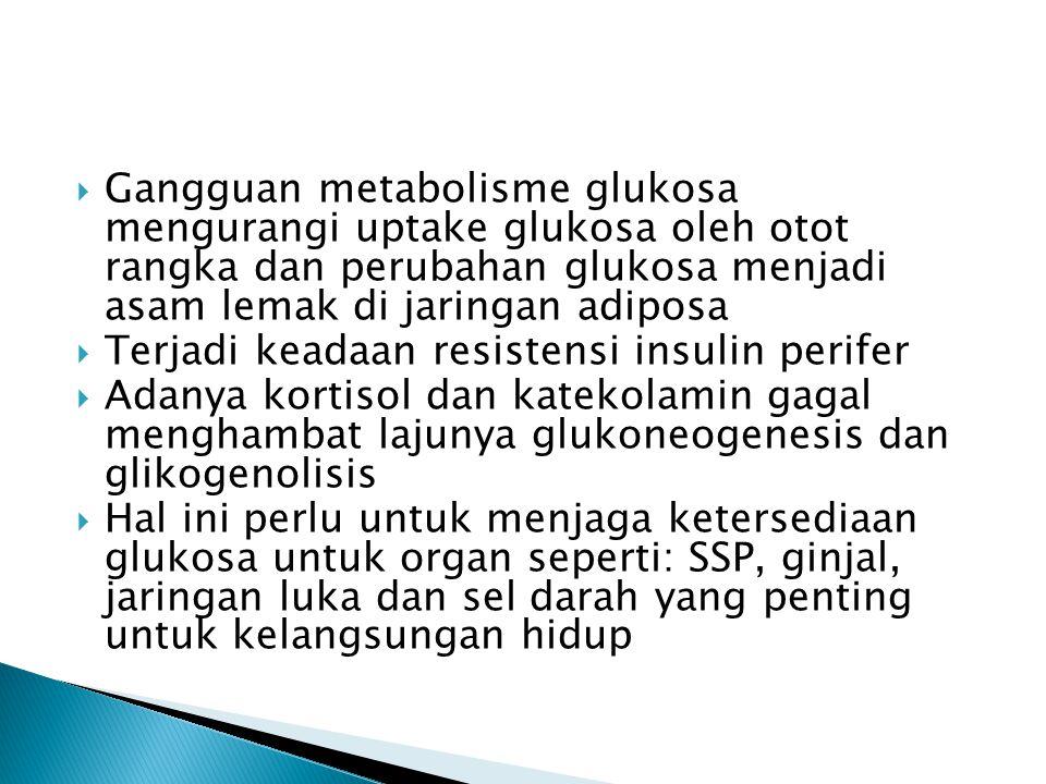 Gangguan metabolisme glukosa mengurangi uptake glukosa oleh otot rangka dan perubahan glukosa menjadi asam lemak di jaringan adiposa