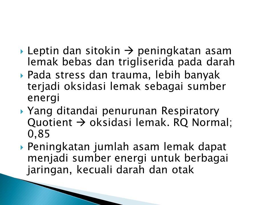 Leptin dan sitokin  peningkatan asam lemak bebas dan trigliserida pada darah