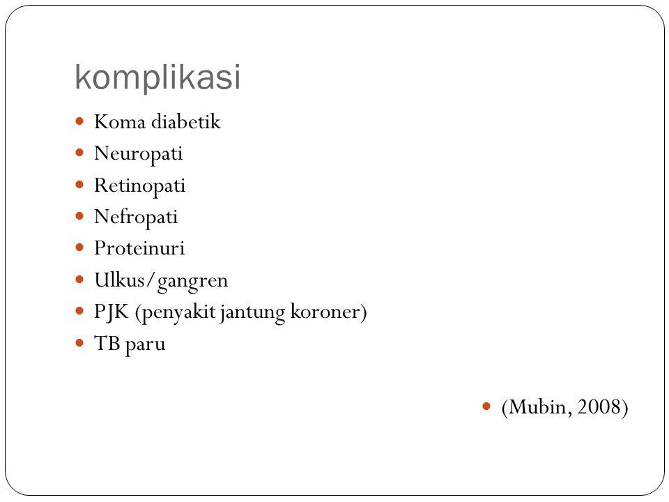 komplikasi Koma diabetik Neuropati Retinopati Nefropati Proteinuri