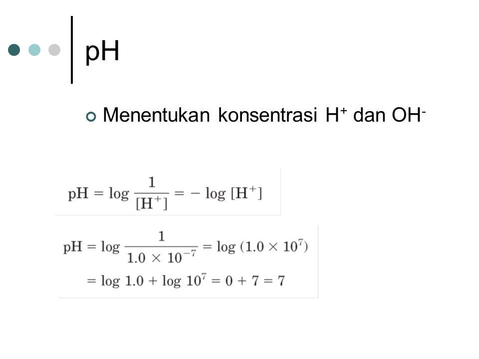 pH Menentukan konsentrasi H+ dan OH-
