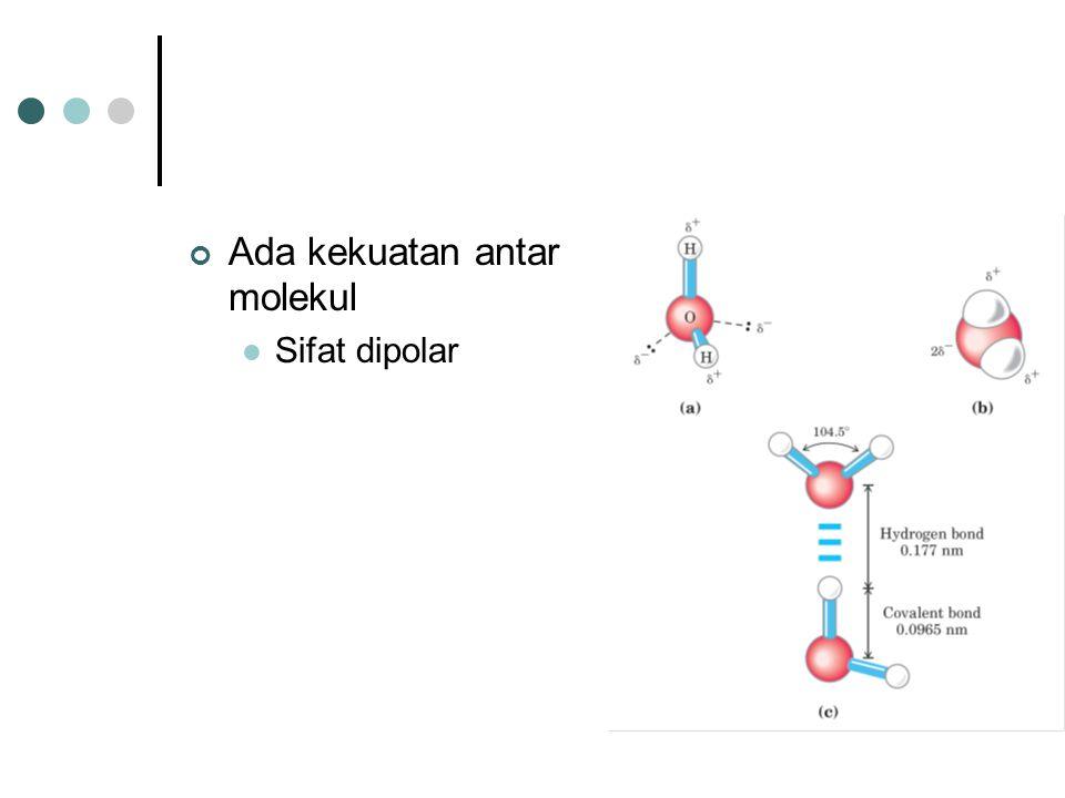 Ada kekuatan antar molekul