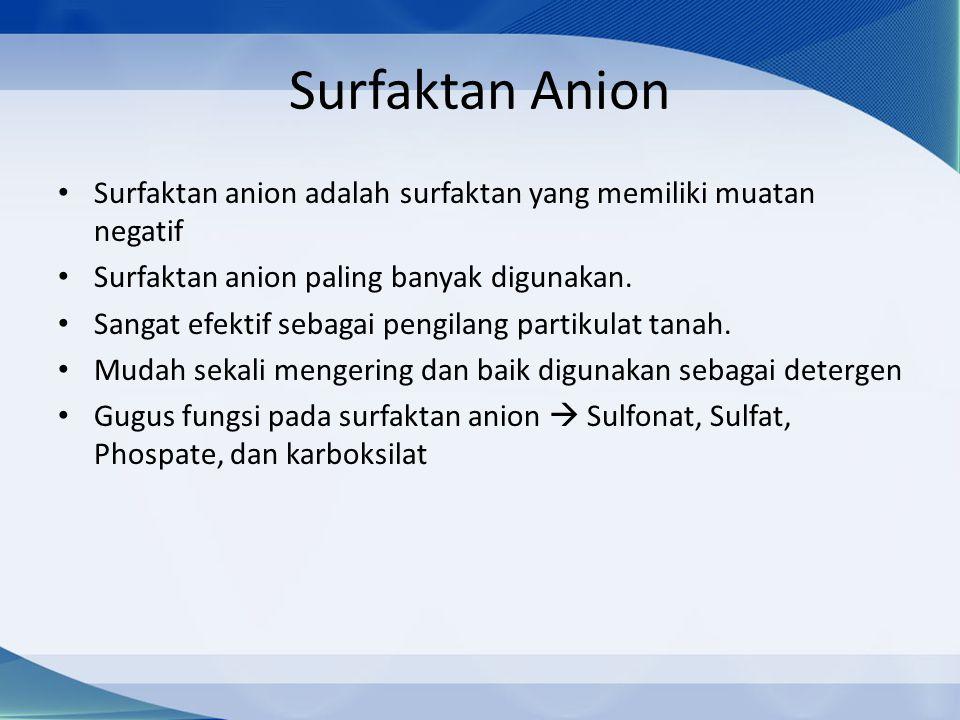 Surfaktan Anion Surfaktan anion adalah surfaktan yang memiliki muatan negatif. Surfaktan anion paling banyak digunakan.