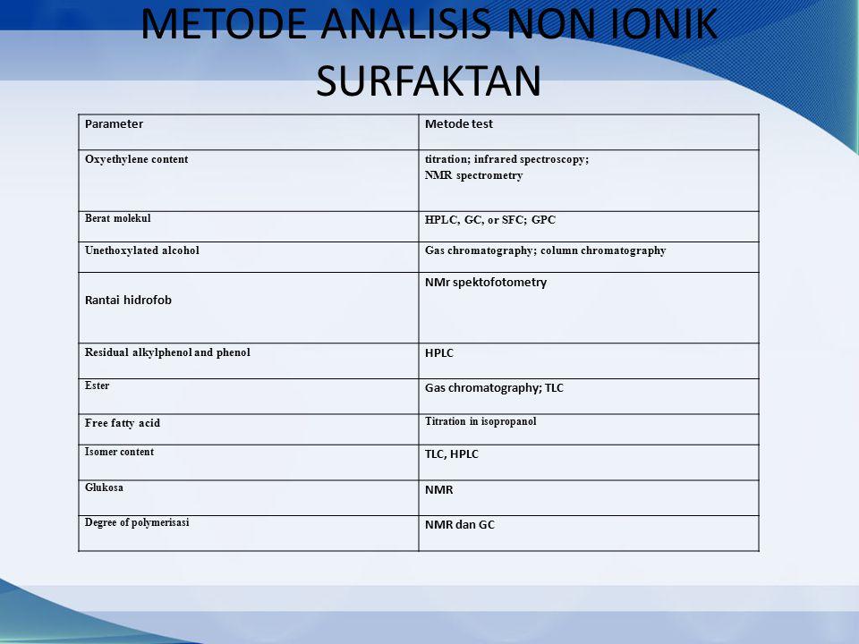 METODE ANALISIS NON IONIK SURFAKTAN