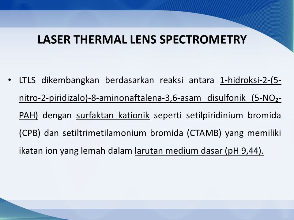 LASER THERMAL LENS SPECTROMETRY