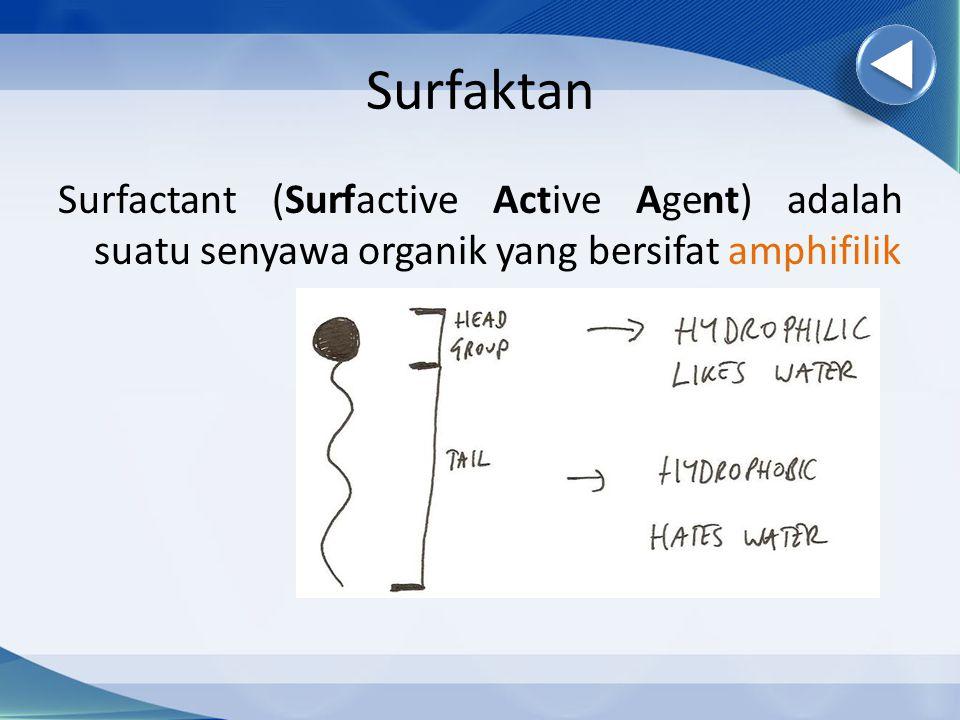 Surfaktan Surfactant (Surfactive Active Agent) adalah suatu senyawa organik yang bersifat amphifilik.