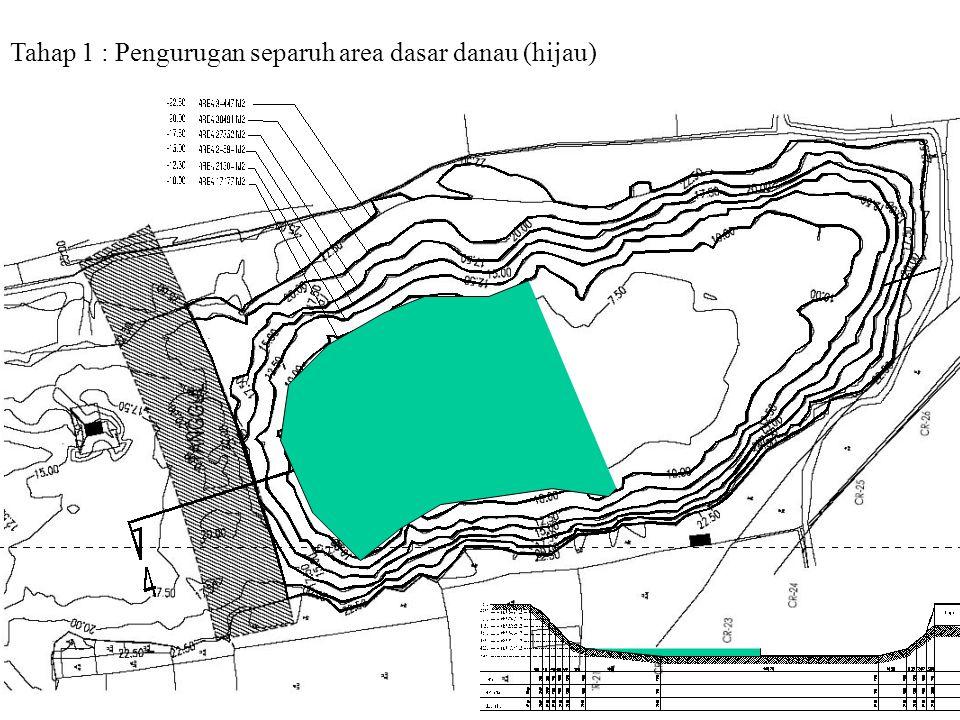 Tahap 1 : Pengurugan separuh area dasar danau (hijau)
