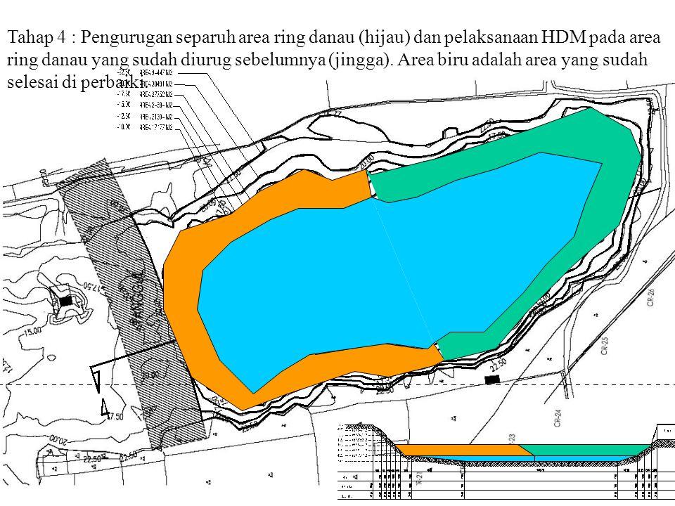 Tahap 4 : Pengurugan separuh area ring danau (hijau) dan pelaksanaan HDM pada area ring danau yang sudah diurug sebelumnya (jingga).