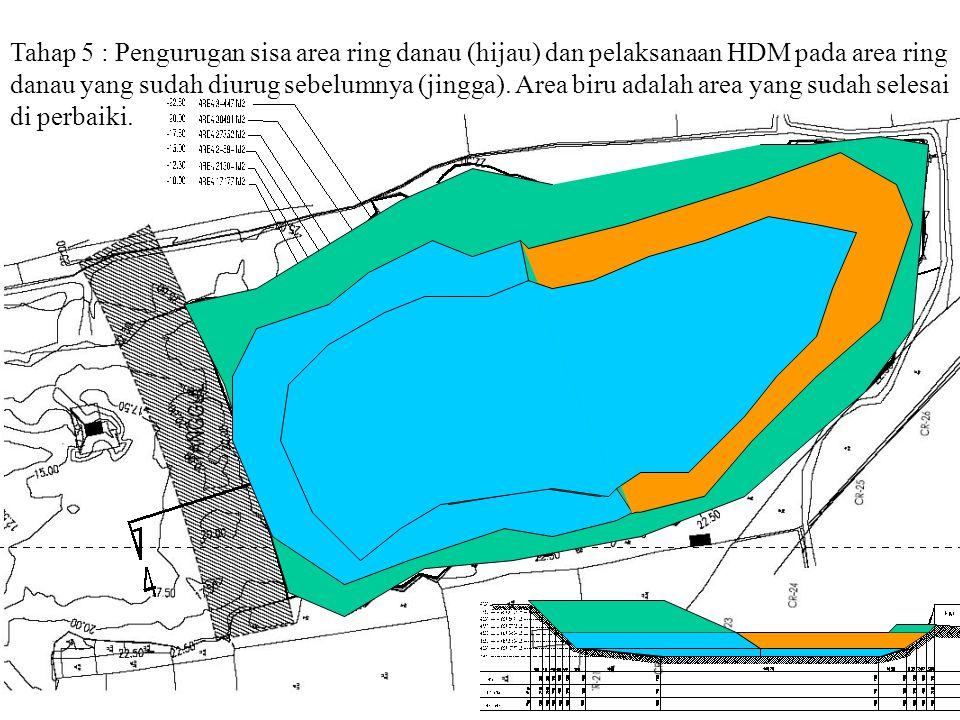 Tahap 5 : Pengurugan sisa area ring danau (hijau) dan pelaksanaan HDM pada area ring danau yang sudah diurug sebelumnya (jingga).