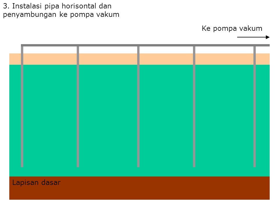 3. Instalasi pipa horisontal dan penyambungan ke pompa vakum