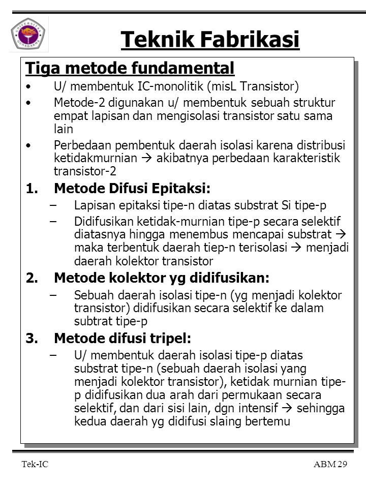 Teknik Fabrikasi Tiga metode fundamental Metode Difusi Epitaksi:
