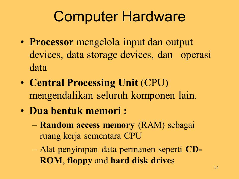 Computer Hardware Processor mengelola input dan output devices, data storage devices, dan operasi data.
