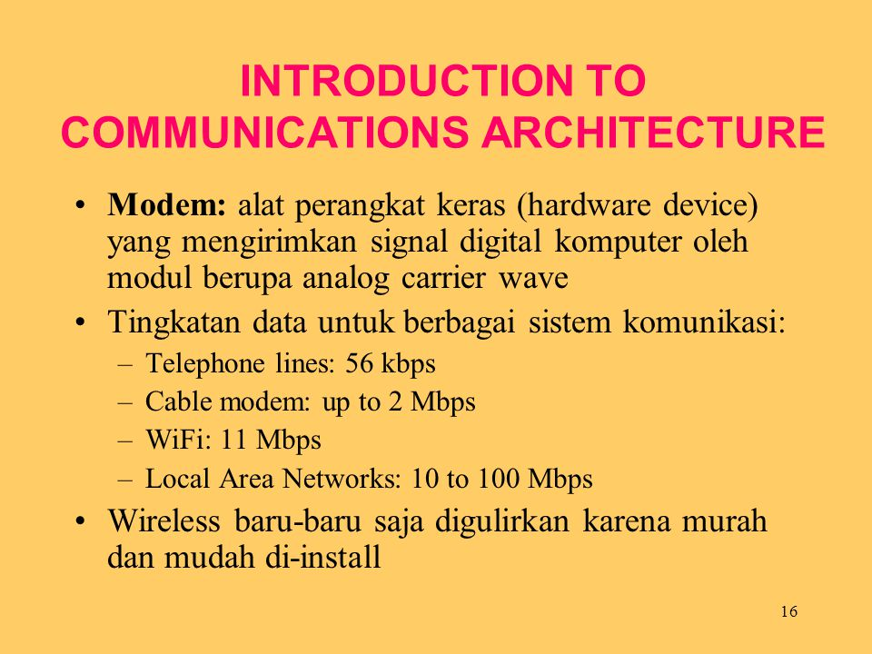 INTRODUCTION TO COMMUNICATIONS ARCHITECTURE