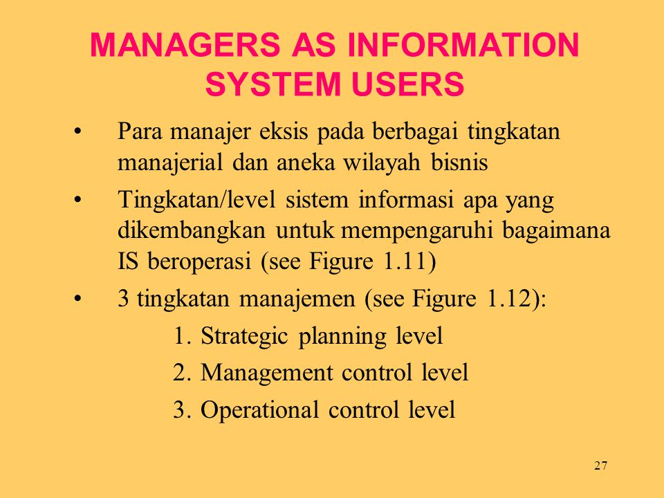 MANAGERS AS INFORMATION SYSTEM USERS