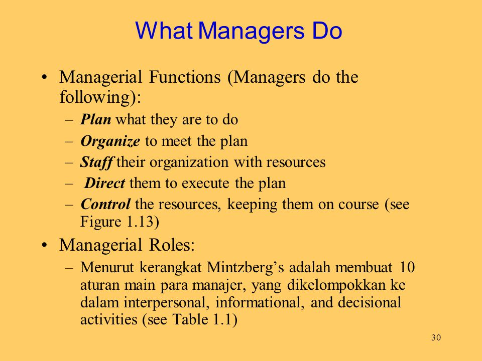 What Managers Do Managerial Functions (Managers do the following):