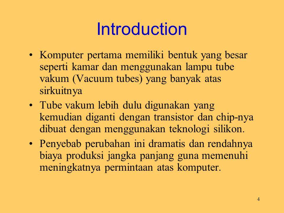 Introduction Komputer pertama memiliki bentuk yang besar seperti kamar dan menggunakan lampu tube vakum (Vacuum tubes) yang banyak atas sirkuitnya.