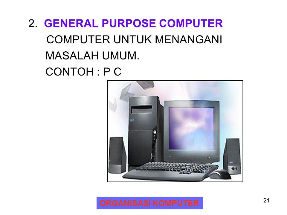 2. GENERAL PURPOSE COMPUTER COMPUTER UNTUK MENANGANI MASALAH UMUM.