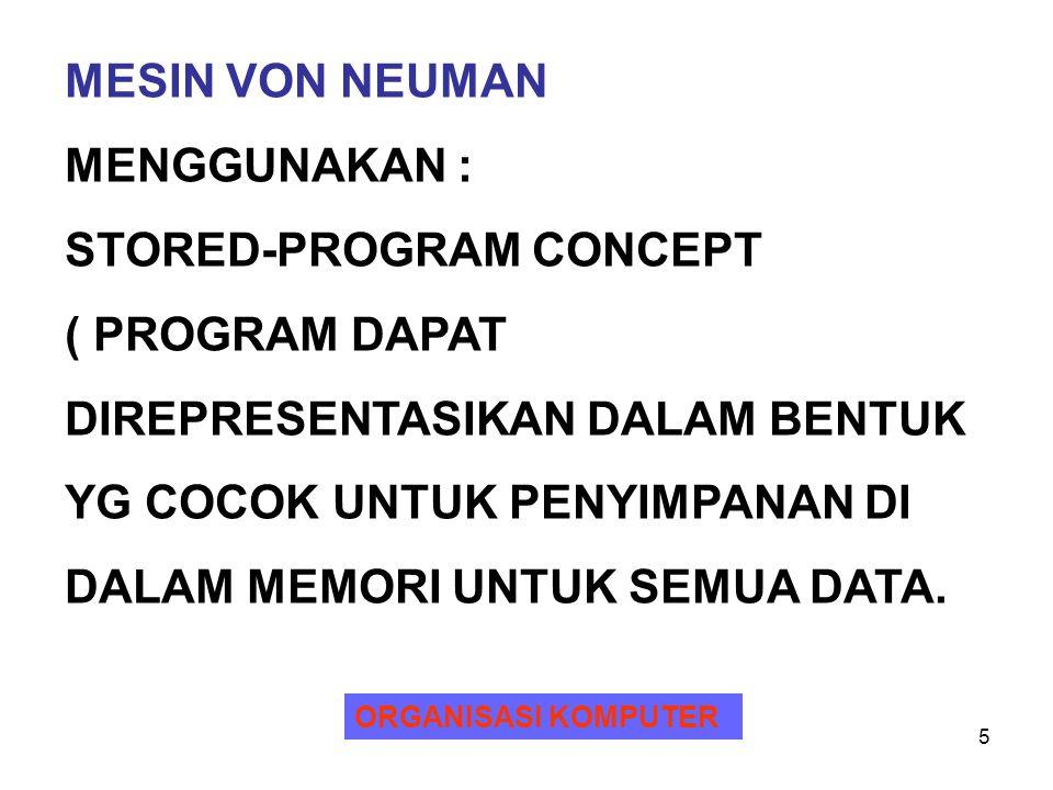 STORED-PROGRAM CONCEPT ( PROGRAM DAPAT DIREPRESENTASIKAN DALAM BENTUK