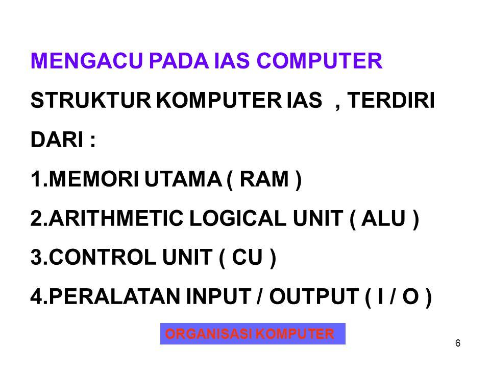 MENGACU PADA IAS COMPUTER STRUKTUR KOMPUTER IAS , TERDIRI DARI :