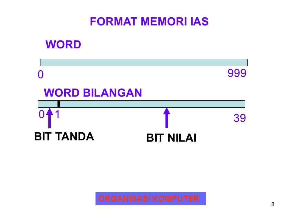 FORMAT MEMORI IAS WORD 999 WORD BILANGAN 0 1 39 BIT TANDA BIT NILAI
