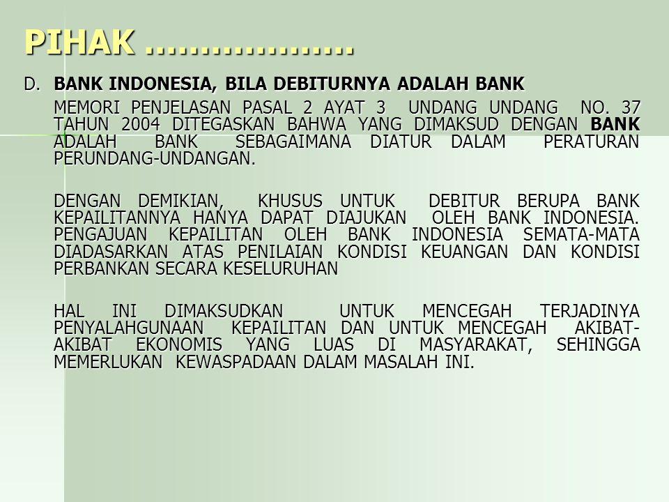 PIHAK ………………. D. BANK INDONESIA, BILA DEBITURNYA ADALAH BANK